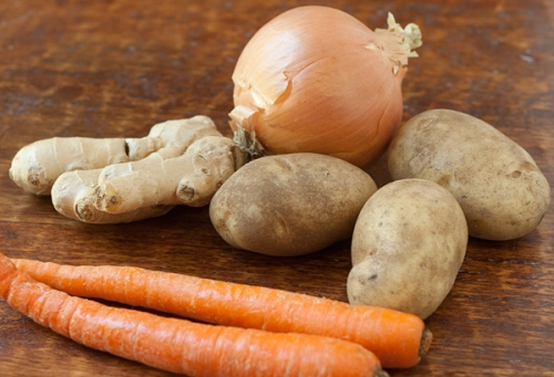 Onions, ginger, potatoes and carrots
